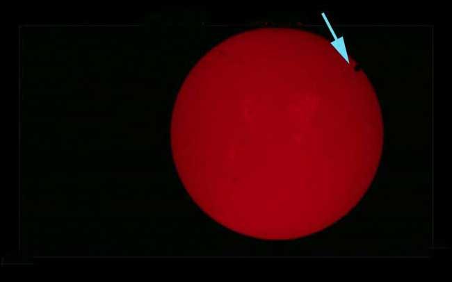 tránsito de Venus 2012  a los 10 minunos de su inicio
