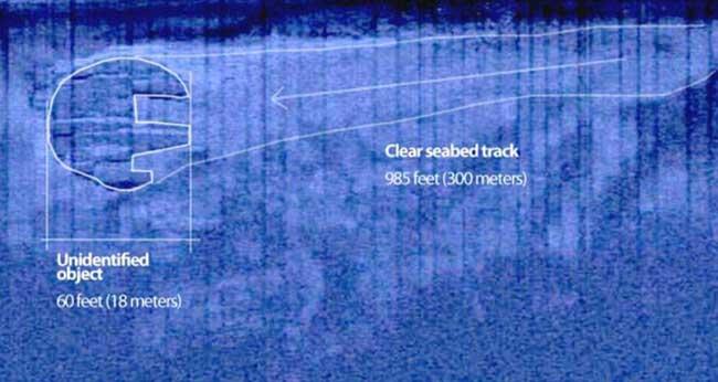 trayectoria misterioso círculo sumergido en el Mar Báltico