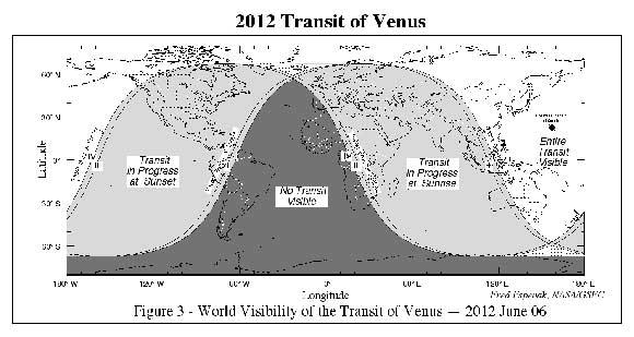 visibilidad geográfica del tránsito de Venus 2012