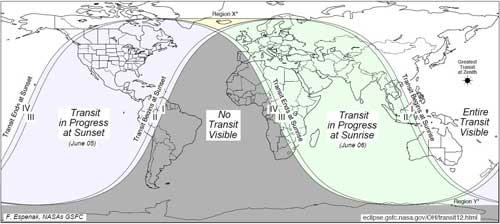 visibilidad global del tránsito de Venus 5-6 de junio de 2012