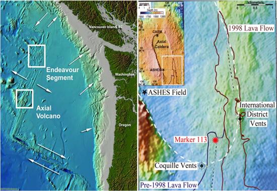 zonas del estudio en el volcán submarino Axial y Endeavour