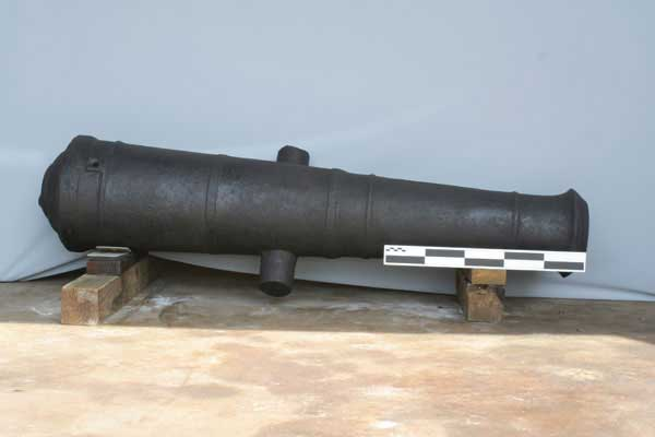 cañón recuperado del naufragio de un velero en el Golfo de México