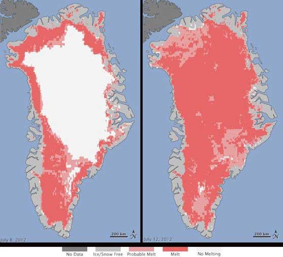derretimiento de la capa de hielo de Groenlandia julio 2012
