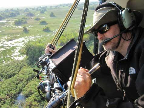 filmando en 3D en el delta del Okavango