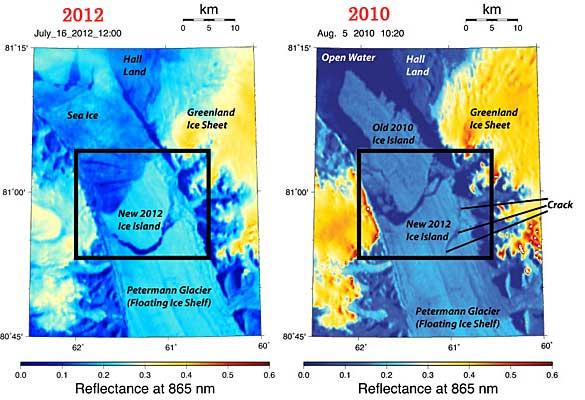 Glaciar Petermann 2012-2010