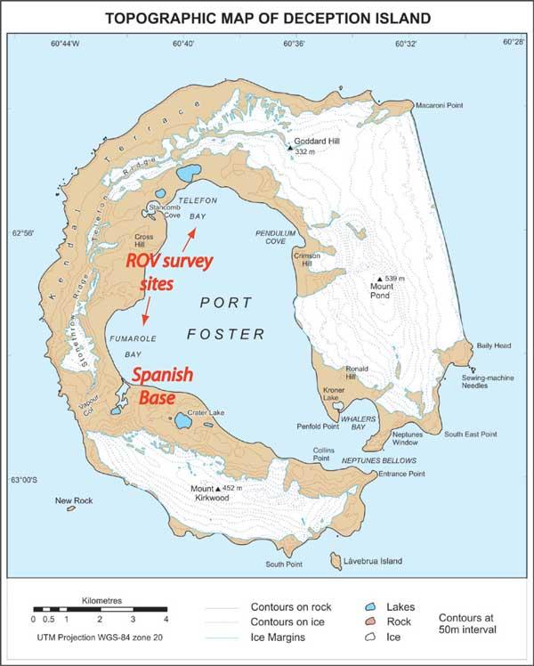 mapa topográfico de Isla Decepción, Antártida