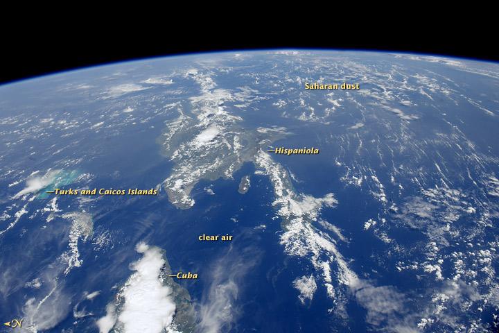 polvo del Sahara sobre el Mar Caribe