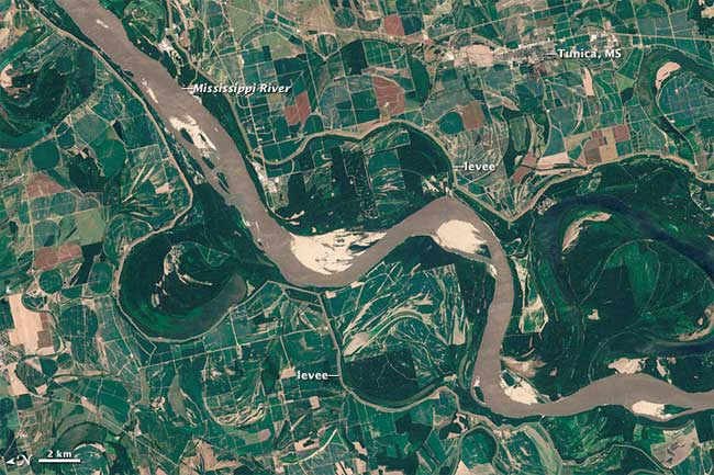río Mississippi desde satélite en agosto de 2011