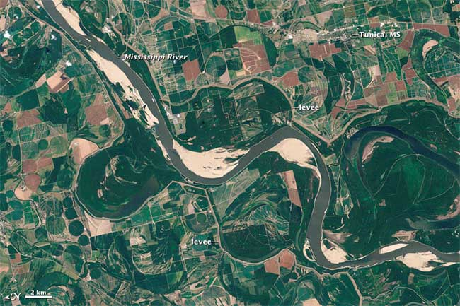 río Mississippi desde satélite en agosto de 2012