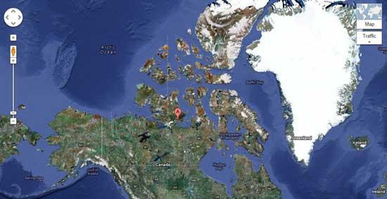 mapa del Ártico canadiense