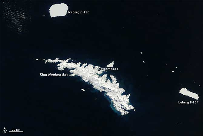 icebergs gigantes alrededor de Georgia de Sur