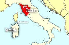 mapa Italia localización Messerschmitt sumergido