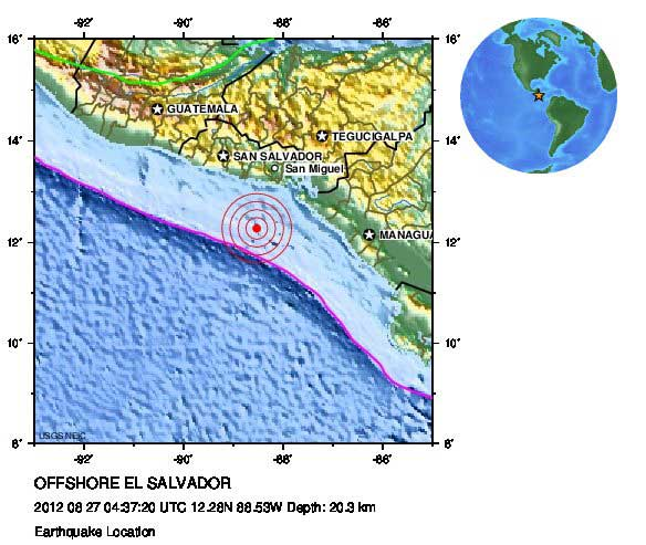 mapa localización del terremoto El Salvador, Agosto 2012