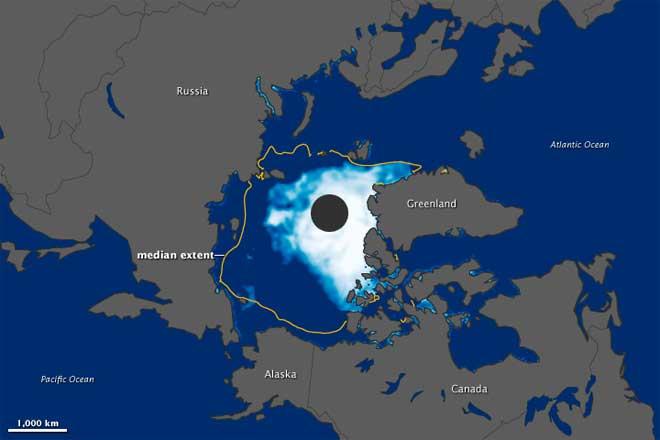mínimo de hielo marino en Ártico, agosto de 2012