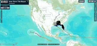 previsión ruta del huracán Isaac