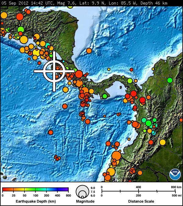 terremoto 7.6 Costa Rica 5 septiembre de 2012
