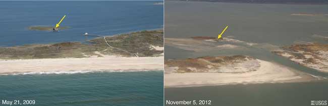 Una parte de la costa antes y después de pasar el huracán Sandy