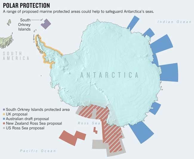 posibles áreas marinas protegidas en la Antártida
