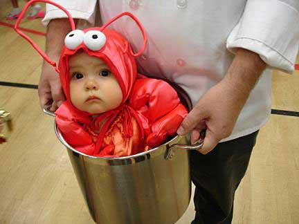 bebé disfrazado de langosta en Halloween