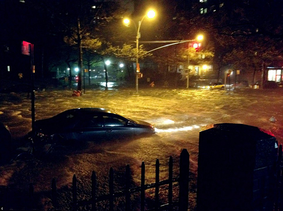 calle de New York inundada