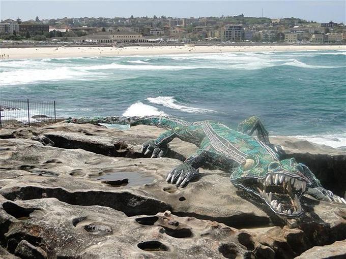 cocodrilo hecho de redes fantasma en Australia