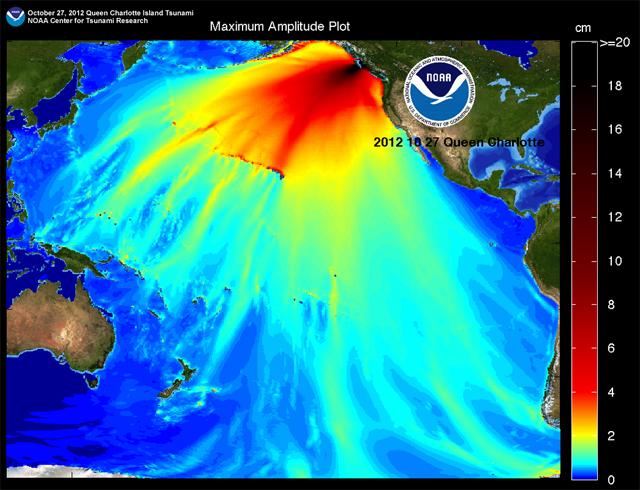 propagación olas tsunami Canadá