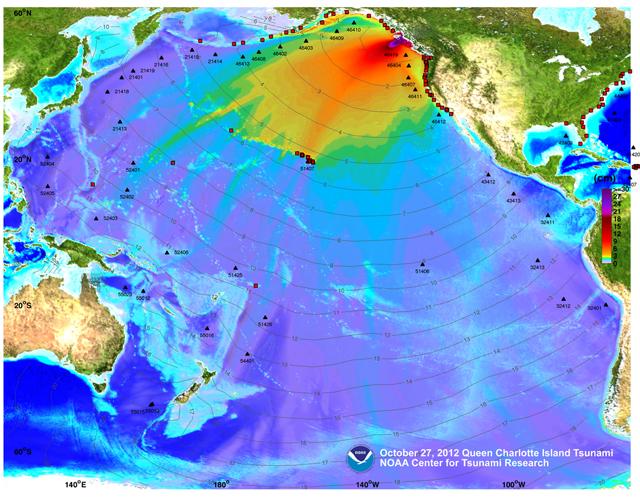desplazamiento olas tsunami Canadá, amplitud