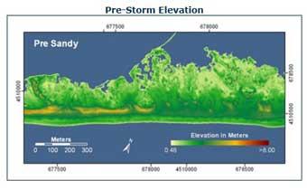 dunas en Fire Island antes del paso del huracán Sandy