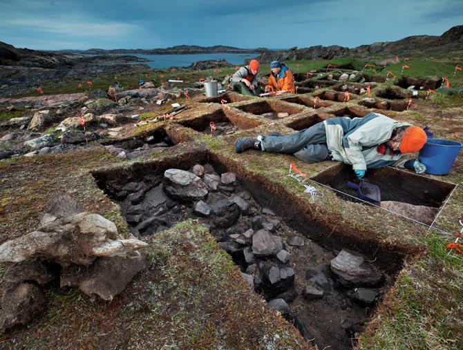 excavación sitio vikingo isla de Baffin, Canadá