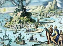 grabado del Faro de Alejandría