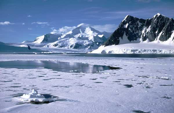 hielo marino en la costa de la Antártida