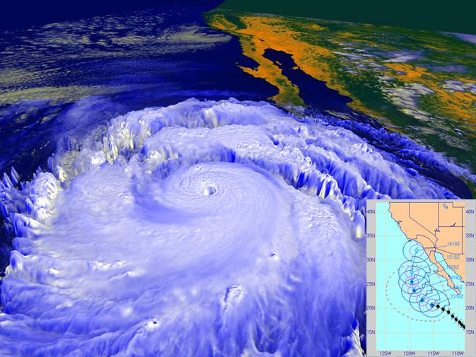 huracán Linda en 3D