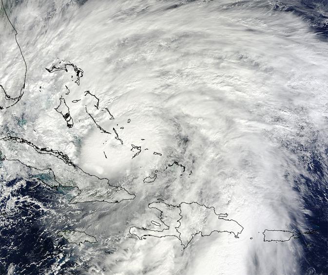 huracán Sandy sobre las Bahamas
