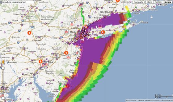 huracán Sandy en Google maps