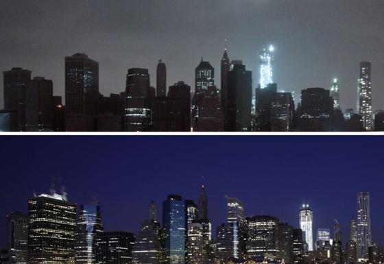 New York con luz y en la oscuridad, comparación