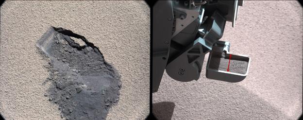 palada del rover Curiosity en el suelo de Marte