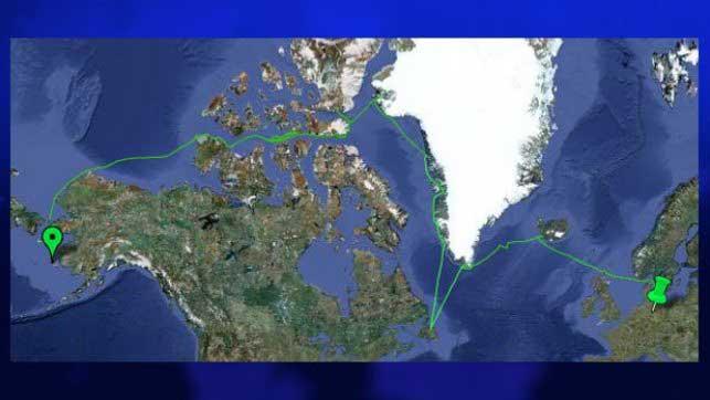 ruta del velero de Groenlandia hasta Alaska