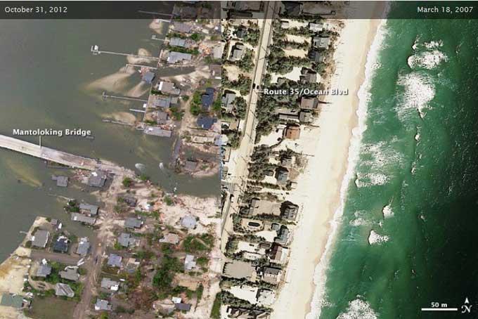 Costa de New Jersey antes y después del paso del huracán Sandy