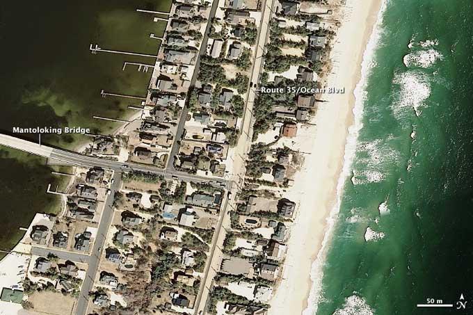 Costa de New Jersey antes del paso del huracán Sandy