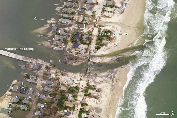 Costa de New Jersey después del paso del huracán Sandy