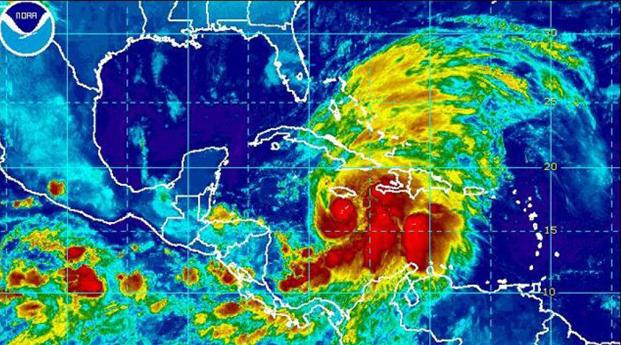 El huracán Sandy sobre el sur de Haití