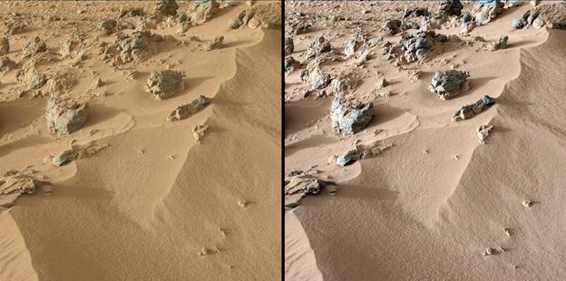 sitio de Marte llamado Rocknest del análisis de arena del Curiosity