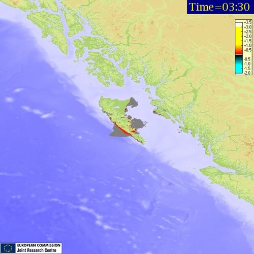 tsunami Canadá, máxima amplitud
