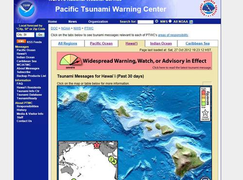 alerta de tsunami para Hawái