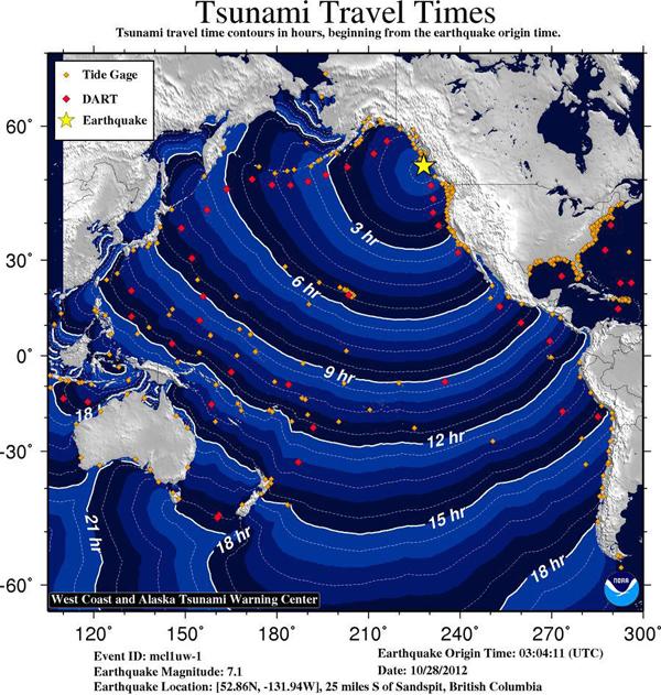 tsunami Canadá horarios