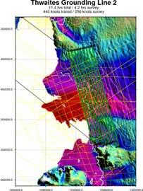 rutas de los vuelos sobre el glaciar Thwaites