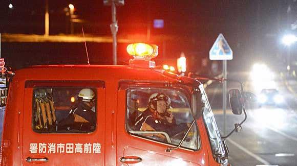 bomberos vigilan carretera prefectura Iwate