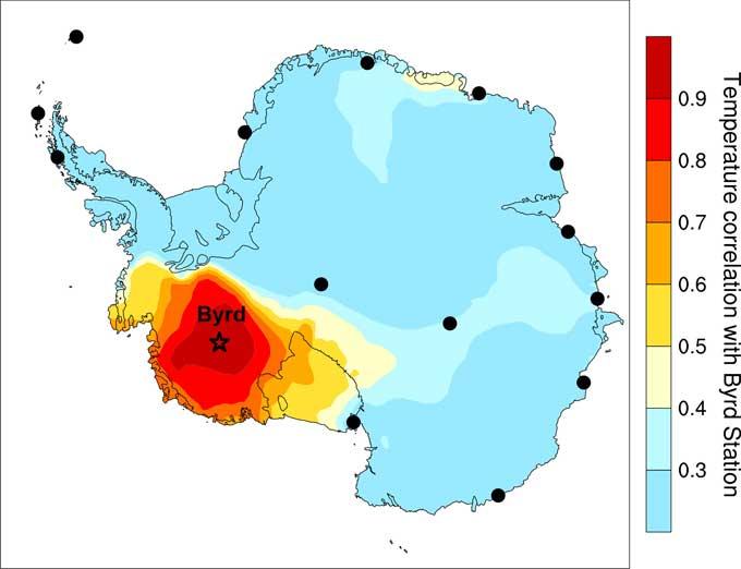 calentamiento en la Estación Byrd - Antártida