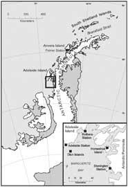 mapa colonia de pingüinos emperador en la costa Adelia (Antártida)