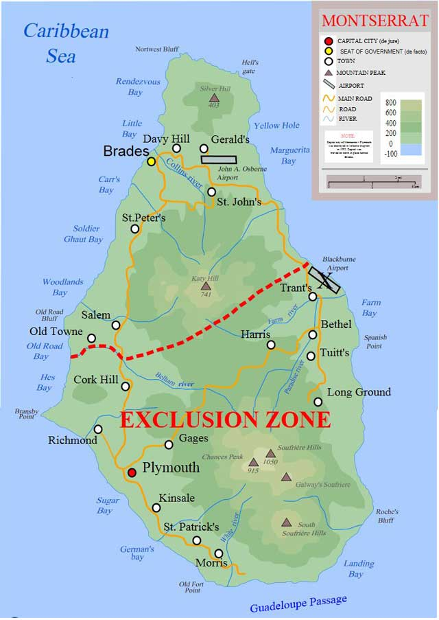 zona de exclusión en la Isla de Montserrat